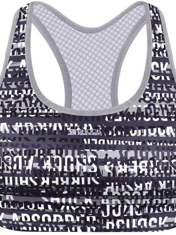 Active Crop Top – Black** – Xs, Print Logo Blue, S, Shock Arbsober