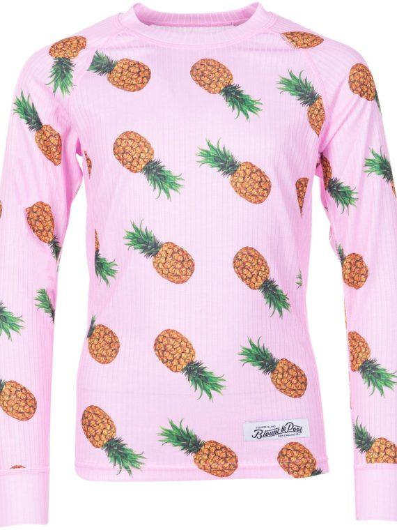 Crewneck L/S Baselayer Jr, Pink Pineapple Print, 100, Blount And Pool