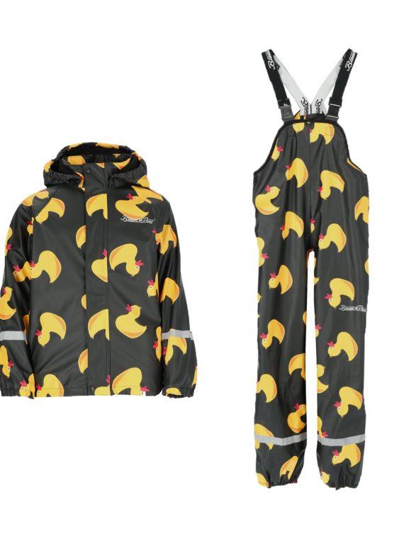 Drizzle Fleece Rain Set Jr, Black Yellow Duck, 80, Blount And Pool