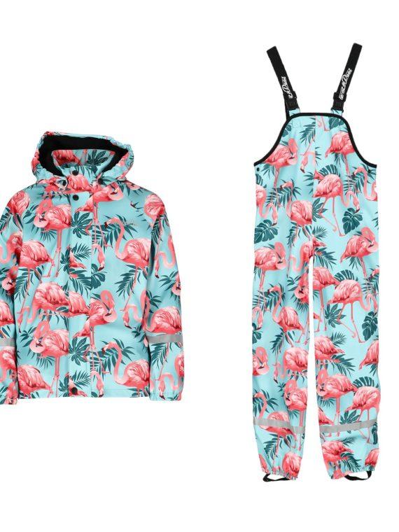 Drizzle Fleece Rain Set Jr, Turquoise Flamingo, 140, Blount And Pool