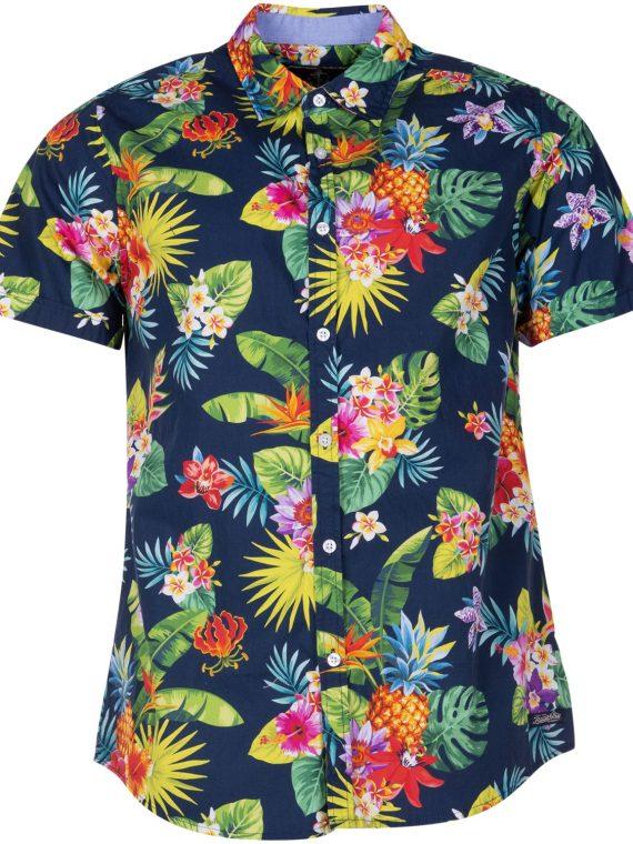Hawaii Pineapple Flower Shirt, Navy, Xs, Blount And Pool