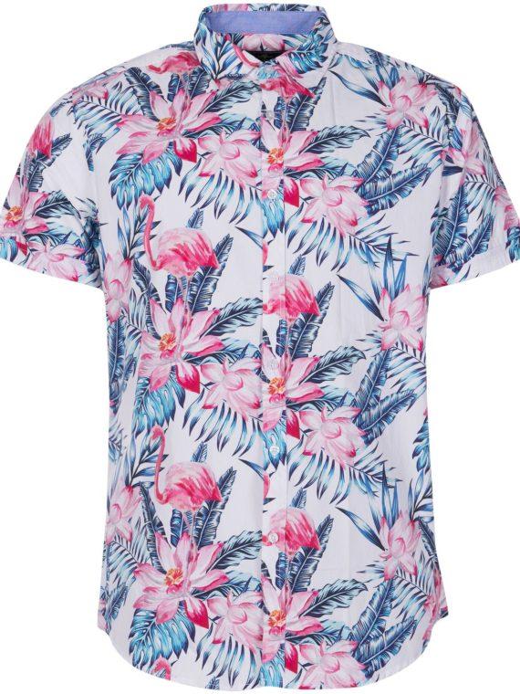 Hawaii Pink & Blue Flamingo Sh, White, 3xl, Blount And Pool