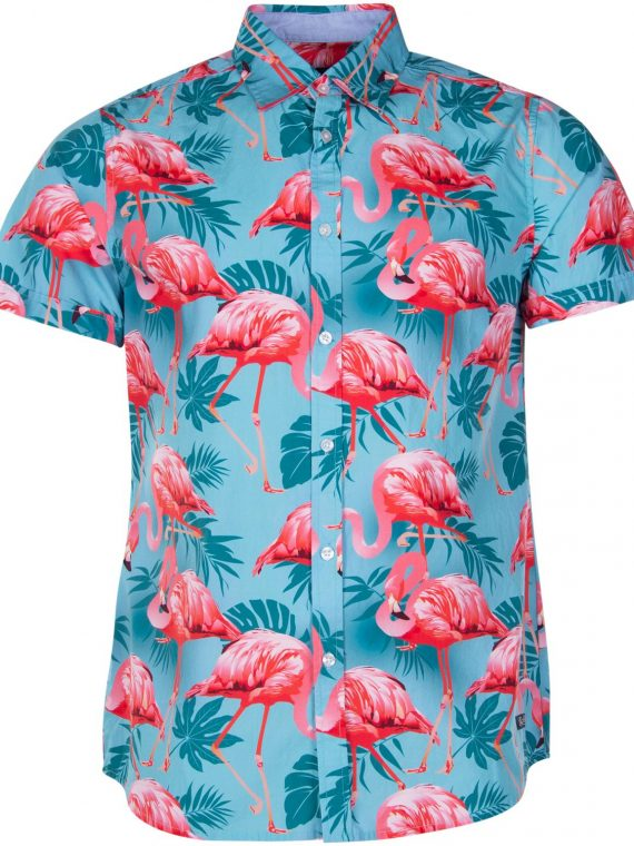 Hawaii Shirt, Turquoise Flamingo, Xl, Blount And Pool