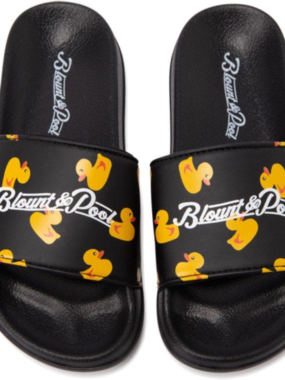 Hawaii Slippers Jr, Black Yellow Duck, 34, Badtofflor