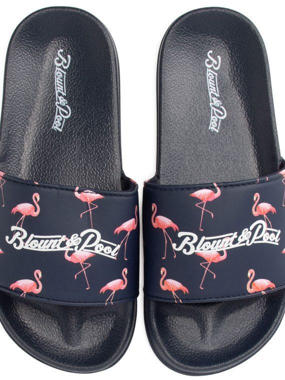Hawaii Slippers Jr, Navy Flamingo, 32, Badtofflor