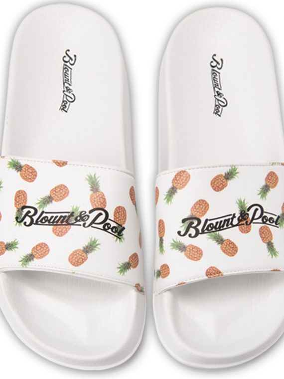 Hawaii Slippers, White Pineapple, 38, Blount And Pool