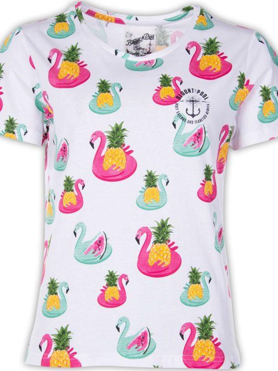 Jungle Tee W, White Flamingo Pineapple, 42, T-Shirts