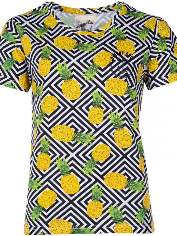 Jungle Tee W, Yellow Graphic Pineapple, 44, T-Shirts