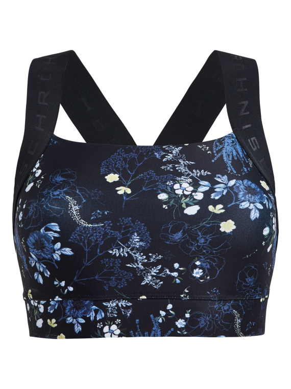 Kay Printed Sports Bra, Yellow Garden, S, Röhnisch