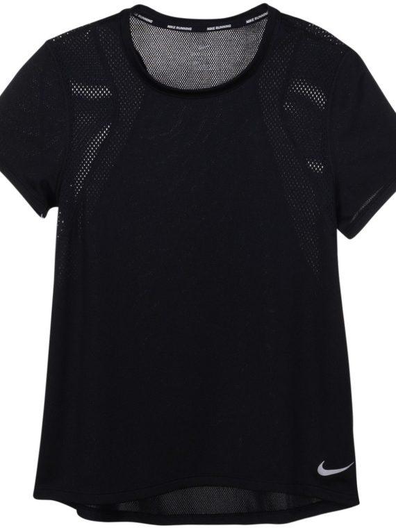 Nike Run Women's Short-Sleeve, Black/Black, Xs, Nike