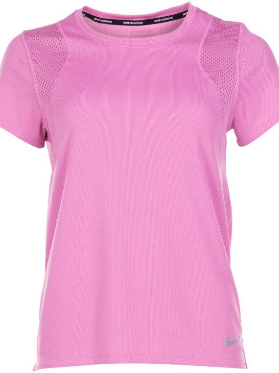 Nike Run Women's Short-Sleeve, Magic Flamingo/Reflective Silv, M, Nike