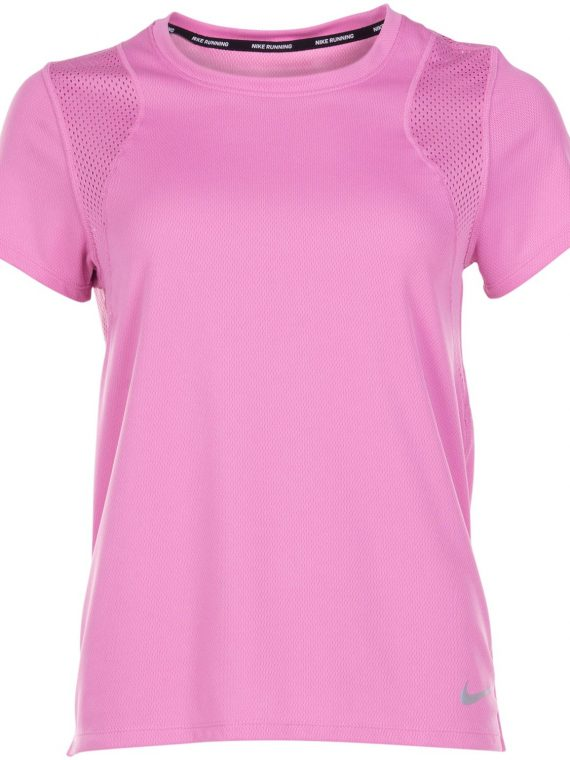 Nike Run Women's Short-Sleeve, Magic Flamingo/Reflective Silv, S, Nike