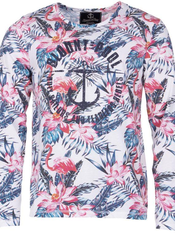Pink & Blue Flamingo L/S Tee, White, S, T-Shirts
