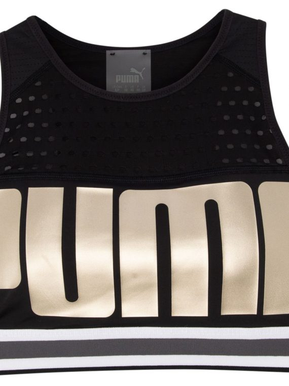 Puma Bra M, Puma Black-Metallicgoldpuma, S, Puma