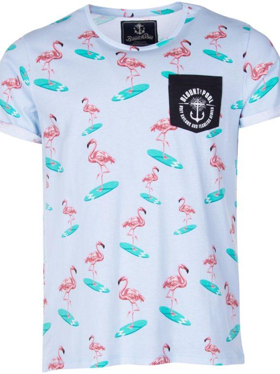Tropical Pocket Tee, Lt. Blue Surfing Flamingo, S, T-Shirts