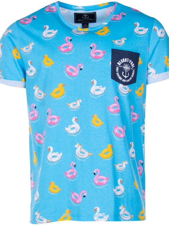 Tropical Pocket Tee, Turquoise Paradise Pool Party, 2xl, T-Shirts