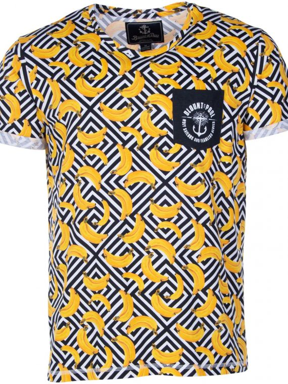 Tropical Pocket Tee, Yellow Graphic Banana, S, T-Shirts