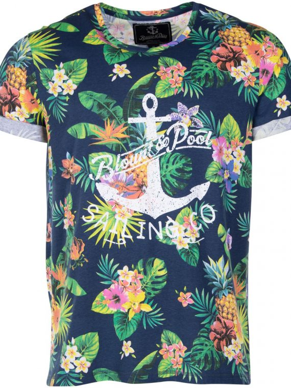 Tropical Tee, Navy Jungle Pineapple, L, T-Shirts