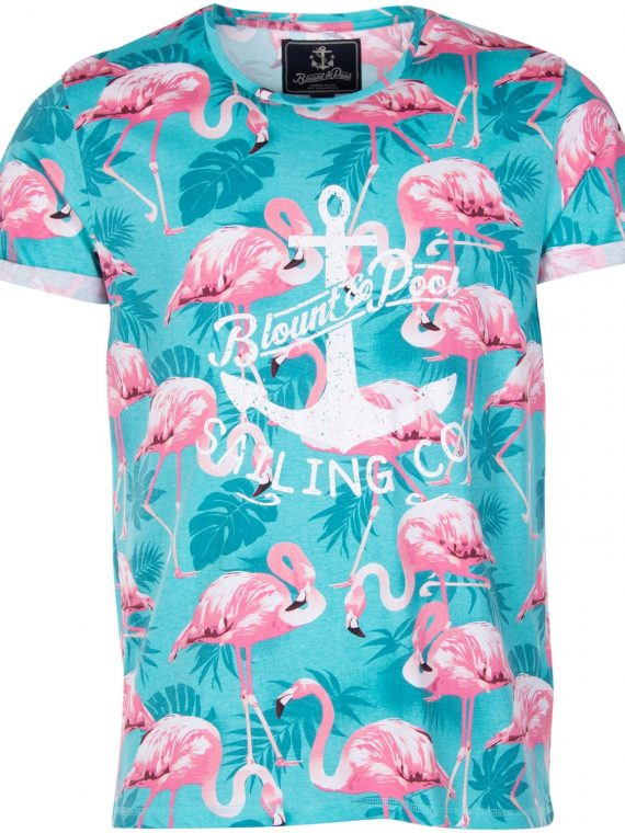 Tropical Tee, Turquoise Flamingo, M, T-Shirts