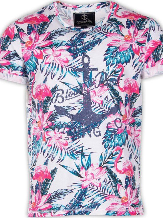 Tropical Tee, White Pink & Blue Flamingo, Xl, T-Shirts